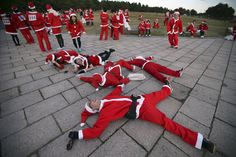 People dress up in Santa costumes – or colourful Speedos – to take part in festive charity runs
