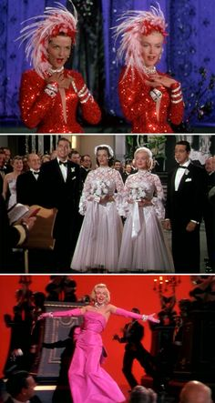 """Movie - """"Gentlemen Prefer Blondes""""    I love the outfits they wore, especially the wedding dresses!"""