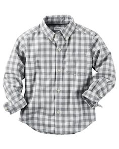 Toddler Boy Poplin Checkered Button-Front Shirt | Carters.com