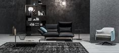 Merlino | | cierre living in leather 2017 Design, Polyurethane Foam, High Resolution Photos, Chrome Plating, Couches, Merlin, Seat Cushions, Relax, Chair