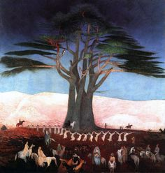 Csontváry Kosztka Tivadar - Pilgrimage to the Cedars in Lebanon, 1907 Oil on canvas, 200 x 205 cm Magyar Nemzeti Galéria, Budapest Oil On Canvas, Canvas Prints, Art Prints, National Gallery, Expressionist Artists, Cedar Trees, Post Impressionism, Art Database, Hanging Art