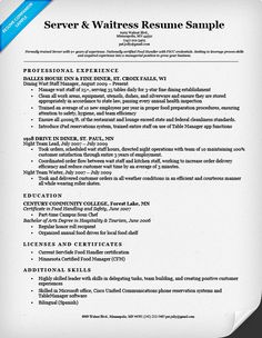 sample of waitress resume
