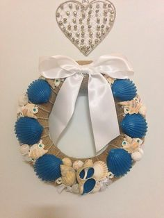 A wreath for myself. First time using painted shells!