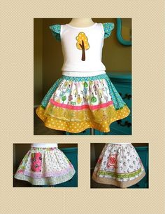 Evelyn Apron Skirt PDF Sewing Pattern Instructions for Girls 2T - 6