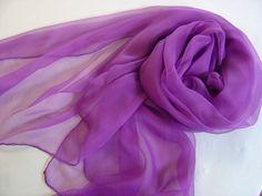 Seidenschals - Seidenschal purpur-violett Chiffonschal Langschal - ein Designerstück von textilkreativhof bei DaWanda