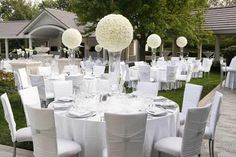 modern white floral ball centerpieces