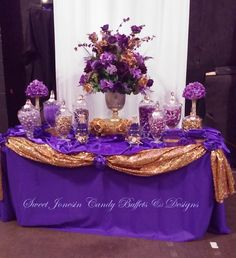 Purple and Gold Candy Buffet