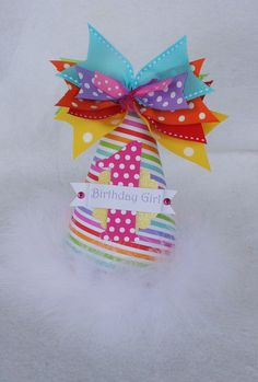 Sparkling Rainbow Birthday Party Hat with polka dots and stripes