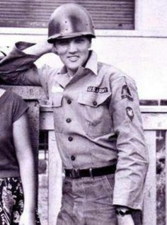 Taken at Elvis' off base home in Bad Neuheim, Germany, Elvis was getting ready to report to base for guard duty, which explains his odd non-combat helmet. Elvis And Priscilla, Lisa Marie Presley, Priscilla Presley, Graceland, Mississippi, Rock And Roll, Tennessee, Are You Lonesome Tonight, Army Day