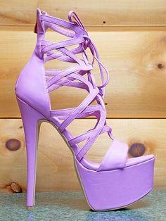 94fdf37489e Pachanga Lavender Purple Lilac Lace Up Platform Shoes 7