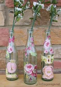 Decoupaged Bottles for Spring.  girlinthegarage.net.  @ALL YOU Magazine Plus a coupon for $1 off All You and a giveaway for $50 gift card to Meijer! #lifeforless #PMedia #ad