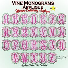 Vine Monograms Applique Machine Embroidery Applique  Available at  http://www.etsy.com/shop/EdiesDesigns