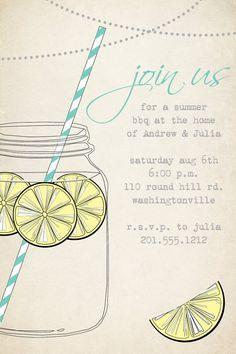 VINTAGE Mason Jar BBQ Lemonade Barbeque Party Engagement Party Rehearsal Dinner Invitation - You Print. $15.00, via Etsy.