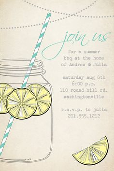 VINTAGE Mason Jar BBQ Lemonade Barbeque Party Engagement Party Rehearsal Dinner Invitation - You Print. $15.00, via Etsy.