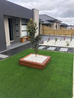 Artificial Grass & Synthetic Turf in Melbourne Low Maintenance Front Yard Easy as 123 with us! No Grass Backyard, Backyard Patio Designs, Large Backyard, Modern Landscaping, Front Yard Landscaping, Landscaping Ideas, House Landscape, Landscape Design, Artificial Grass Garden