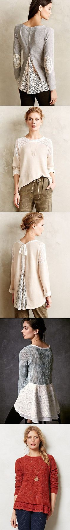 Love these lace upcycled sweaters! (Diy Shirts Back) Look Fashion, Diy Fashion, Fashion Design, Vetements Clothing, Mode Crochet, Diy Kleidung, Diy Vetement, Altered Couture, Creation Couture