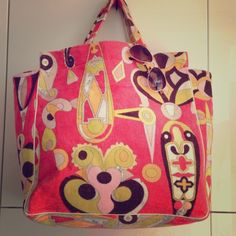 Emilio Pucci XL terry cloth large beach bag Emilio Pucci Terry Mod Print Tote Bag with leather trim PErfect for Winter & Summer vacations Emilio Pucci Bags