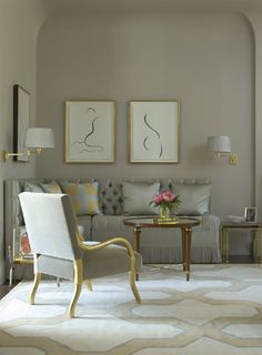 Hollywood Regency Living Room in Greys