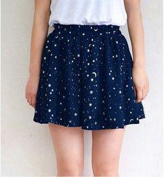 Wheretoget - Dark blue galaxy print skirt