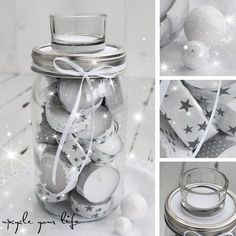teelicht-adventskalender im glas. Christmas Mason Jars, Christmas Candles, Christmas Crafts, Christmas Decorations, Christmas Ideas, Advent Calenders, Candle Containers, Diy Gifts, Handmade Gifts