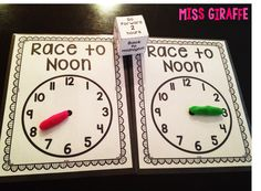 Race to Noon telling time to the hour game that is so much fun - directions on the blog post
