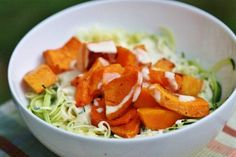 These zucchini noodles with butternut squash and creamy garlic sauce combine crunchy zucchini and sweet roasted squash for an easy meal.