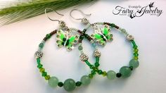 Orecchini cerchio avventurina agate verde farfalla , by Evangela Fairy Jewelry, 13,00 € su misshobby.com
