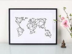 Digitaldruck - Artprint / Geometrische Erde - ein Designerstück von Eulenschnitt bei DaWanda
