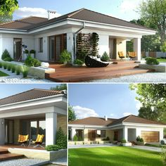 Excellent simple ideas for your inspiration Modern Bungalow Exterior, Modern Bungalow House, Rural House, Bungalow House Plans, My House Plans, Modern House Plans, Modern House Design, Morden House, One Storey House