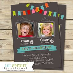 Bunting Joint Twin Photo Birthday Invitation by lilsproutgreetings