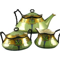 "Heinrich & Co. (H&Co.) Bavaria Art Deco Lustre Tea Set - Teapot, Creamer & Sugar (Signed ""K.E. Fox""/c.1900-1920)"
