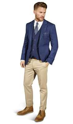 Country Casual   If formal tailoring isn't your style, a smart casual look can be the ideal wedding day alternative. Take a great pair of Chinos as your starting point then create the perfect outfit with a crisp white button down shirt and casual blazer.
