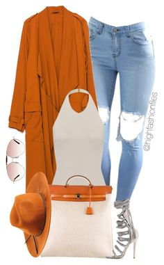 """""""Orange for October"""" by highfashionfiles ❤ liked on Polyvore featuring moda, Zara, Hermès, Monika Chiang, Emilio Pucci y Valentino"""