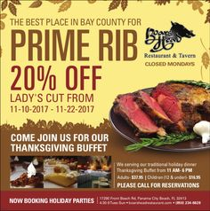 Special Offer! Enjoy Our Famous Prime Rib for less now-thru Nov. 22nd,  2017!