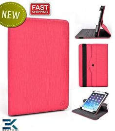 [Revolving Accord] Verizon Wireless Ellipsis 7 Case | Universal 360 Degree Rotating 7-inch Tablet Cover with Stand - HOT PINK. Bonus Ekatomi...