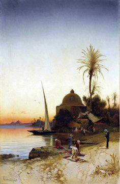 Prayers at the bank of the river Nile  By Hermann David Salomon Corrodi - Italian, 1844-1905  Oil on canvas , 101 x 64 cm