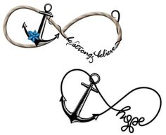 Black and White Anchors with Infinity Symbols Tattoos