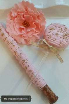 Pink and gold oreo pops and pretzels gold by MyInspiredMemories