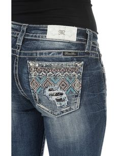 Miss Me Women's Medium Wash with Diamond Pattern Beaded Open Back Pocket Boot Cut Jeans | Cavender's