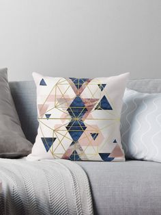 Blush Pink and Navy Geometric Perfection  Throw Pillow by UrbanEpiphany 0e40850278