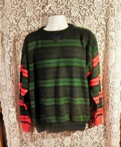 Mens Vintage Sweater, Navy Striped Sweater, Green Sweater, Oversized Sweater, Mens Thick Sweater, Mens Oversized Sweater, Mens Size Large