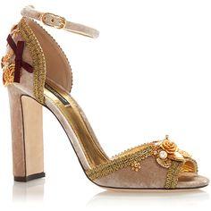 Dolce & Gabbana Embellished Velvet Heeled Sandals ($1,645) ❤ liked on Polyvore featuring shoes, sandals, dolce&gabbana, embellished sandals, decorating shoes, velvet shoes and beige sandals