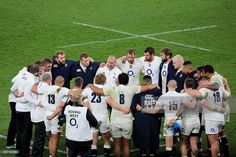 The England team huddle at the end of the RBS Six Nations match between England and France at...