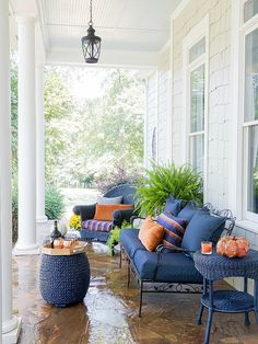 Gorgeous front porch decorated for Fall