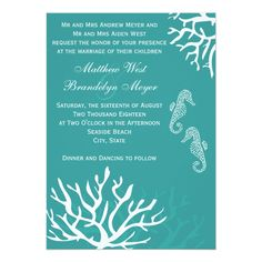Teal Sea Coral Seahorse Wedding Invitations