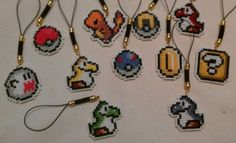 Awesome cross stitch cellphone charms.