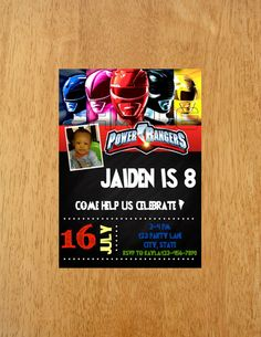 Power Rangers Invitation DIGITAL FILE by MunchDoodles on Etsy