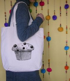Items similar to Shopper Grocery Diaper Tote Bag Cotton Natural Color with vintage muffin on Etsy Cupcake Party, Cupcake Bakery, Handmade Market, Handmade Gifts, Bakery Bags, Clothing And Textile, Kids Outfits, Cupcake Images, Reusable Tote Bags