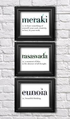 Set of 3 Prints // Wall Art Set / Words and Definitions / Dictionary Art  / Modern Type / Eunoia / Meraki / Rasasvada/ Inspirational Art on Etsy, $35.00