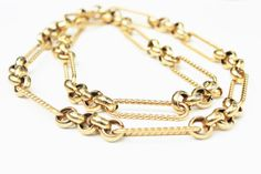 Vintage Gold Link Long Necklace by Gener8tionsCre8tions on Etsy, $45.00